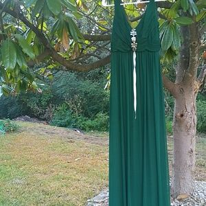 Dark Green Scoop Back Bridesmaids Dress